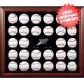 Display Cases, Baseball: Tampa Bay Rays 30-Ball Brown Wood Baseball Display Case
