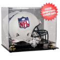 Display Cases, Helmets: New Orleans Saints Helmet Display Case Mirrored Back and Engraved Logo