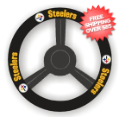 Car Accessories, Detailing: Pittsburgh Steelers Leather Steering Wheel Cover