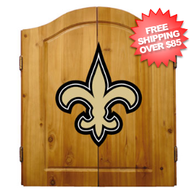 New Orleans Saints Dart Board Cabinet Set