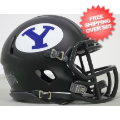 Helmets, Mini Helmets: Brigham Young Cougars NCAA Mini Speed Football Helmet <B>Matte Black</B>