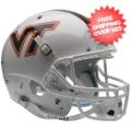 Helmets, Full Size Helmet: Virginia Tech Hokies Full XP Replica Football Helmet Schutt <B>White w/Stri...
