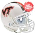 Helmets, Mini Helmets: Virginia Tech Hokies Mini XP Authentic Helmet Schutt <B>White w/Stripe</B>