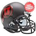 Helmets, Mini Helmets: Utah Utes Mini XP Authentic Helmet Schutt <B>Matte Black w/Red decal<B>