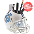 Office Accessories, Desk Items: North Carolina Tar Heels Miniature Football Helmet Desk Caddy <B>White</B>