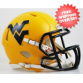 Helmets, Mini Helmets: West Virginia Mountaineers NCAA Mini Speed Football Helmet <B>Matte Gold</B...
