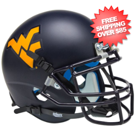 West Virginia Mountaineers Mini XP Authentic Helmet Schutt <B>Matte Navy</B>