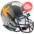 Helmets, Mini Helmets: West Virginia Mountaineers Mini XP Authentic Helmet Schutt <B>Gray Sparkles...