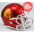 Helmets, Mini Helmets: USC Trojans NCAA Mini Speed Football Helmet <B>Chrome</B>