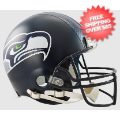 Helmets, Full Size Helmet: Seattle Seahawks Football Helmet <B>Matte Navy</B>