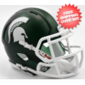 Helmets, Mini Helmets: Michigan State Spartans NCAA Mini Speed Football Helmet <B>Satin Green</B>