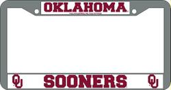 Oklahoma Sooners License Plate Frame Chrome