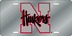 Nebraska Cornhuskers License Plate Laser Cut Silver