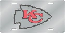 Kansas City Chiefs License Plate Laser Cut Silver