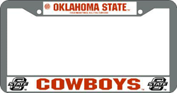 Oklahoma State Cowboys License Plate Frame Chrome