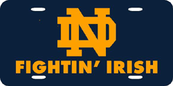 Notre Dame Fighting Irish License Plate Laser Cut Blue