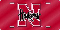 Nebraska Cornhuskers License Plate Laser Cut Red