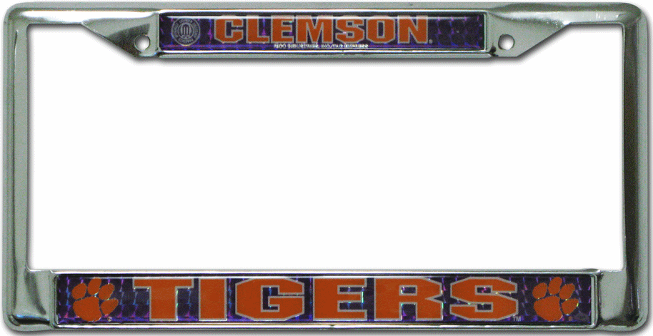 Clemson Tigers License Plate Frame Chrome Deluxe