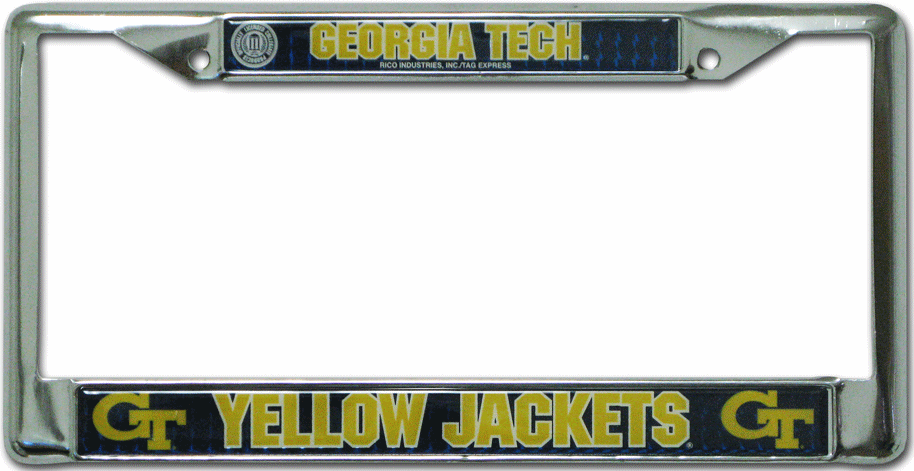 Georgia Tech Yellow Jackets License Plate Frame Chrome Deluxe
