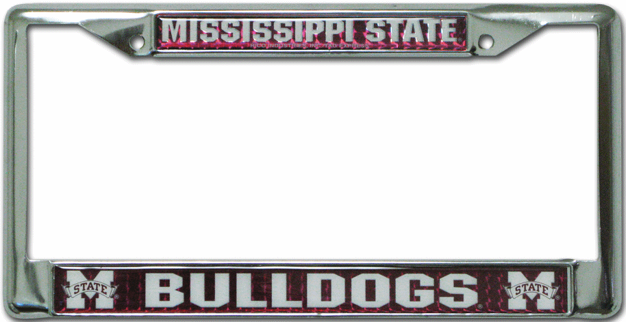 Mississippi State Bulldogs License Plate Frame Chrome Deluxe