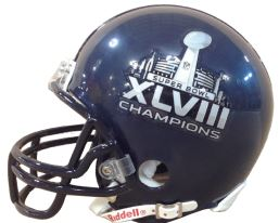 Super Bowl 48 Football Helmet Seattle Seahawks Champs