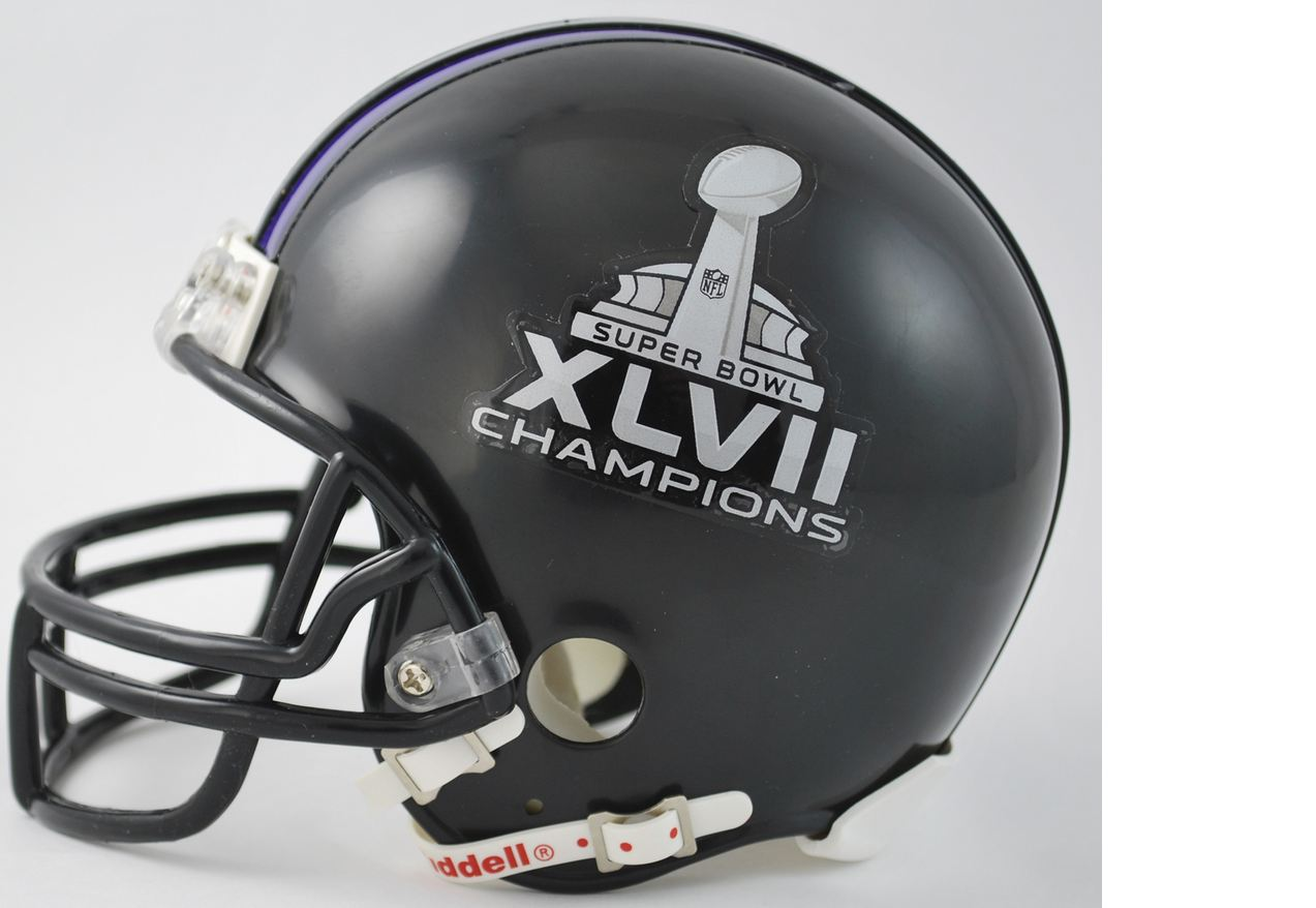 Baltimore Ravens NFL Mini Football Helmet Super Bowl 47 XLVII Champions