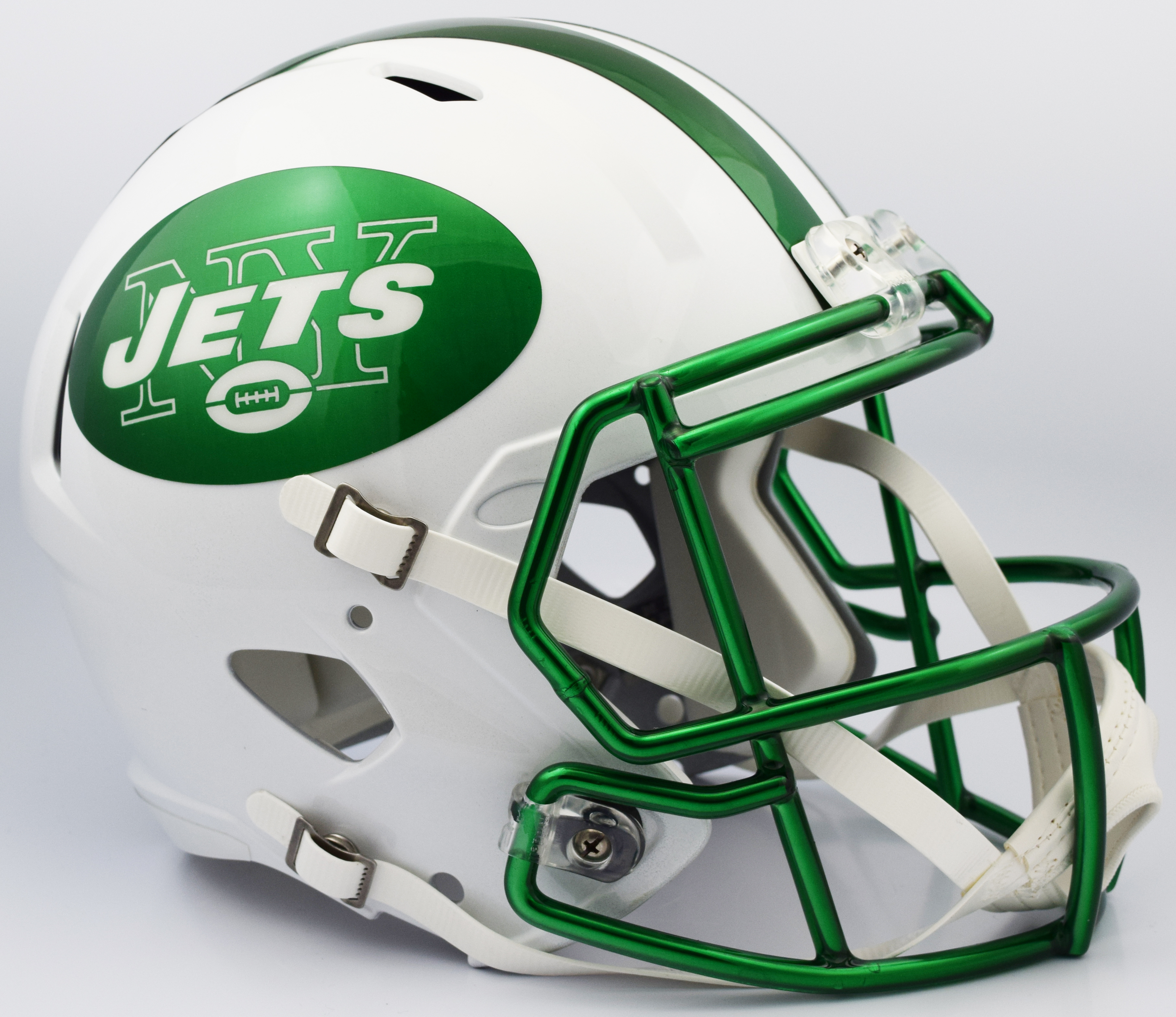 New York Jets Speed Replica Football Helmet <B>2018 Chrome Green Mask</B>