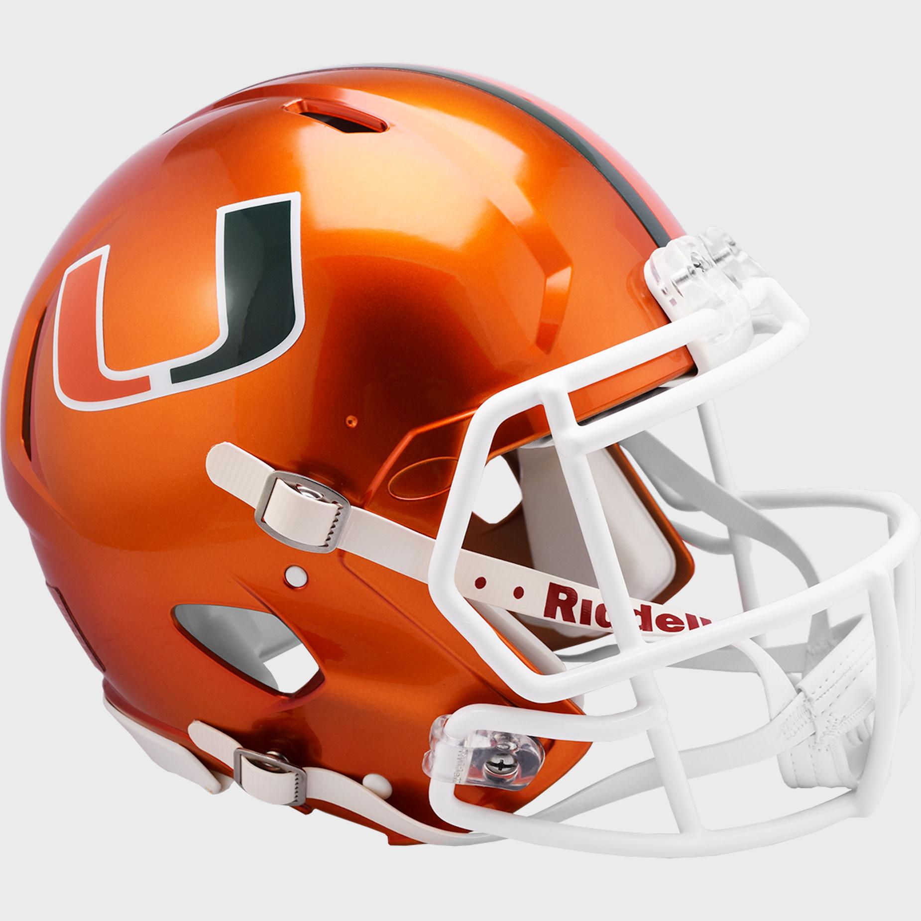 Miami Hurricanes Speed Football Helmet <B>FLASH ESD 8/21/21</B>