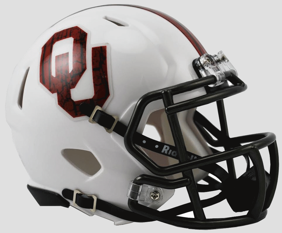 Oklahoma Sooners NCAA Mini Speed Football Helmet <B>Bring The Wood White</B>