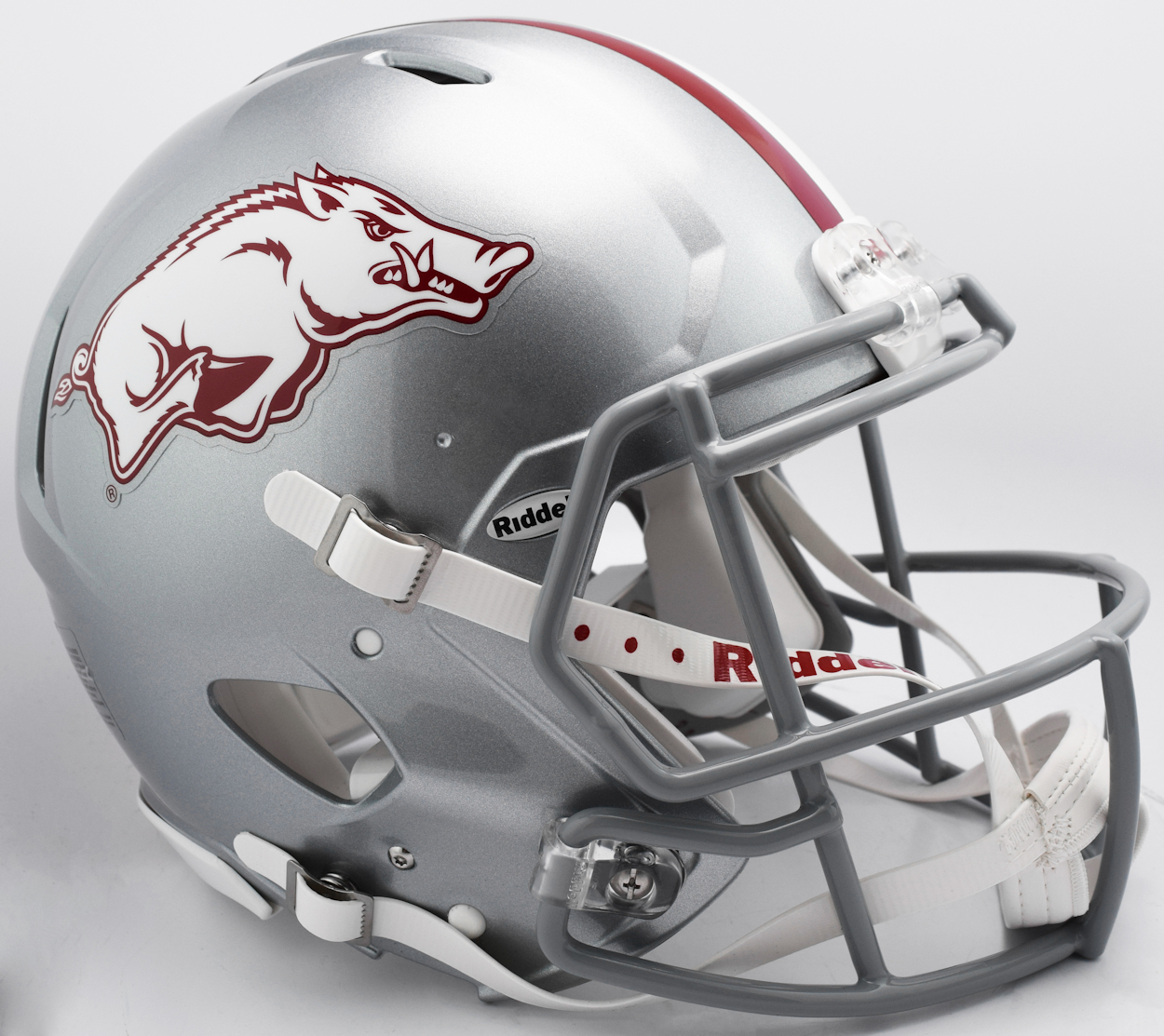Arkansas Razorbacks Speed Football Helmet <B>2017 Silver w/gray mask</B>