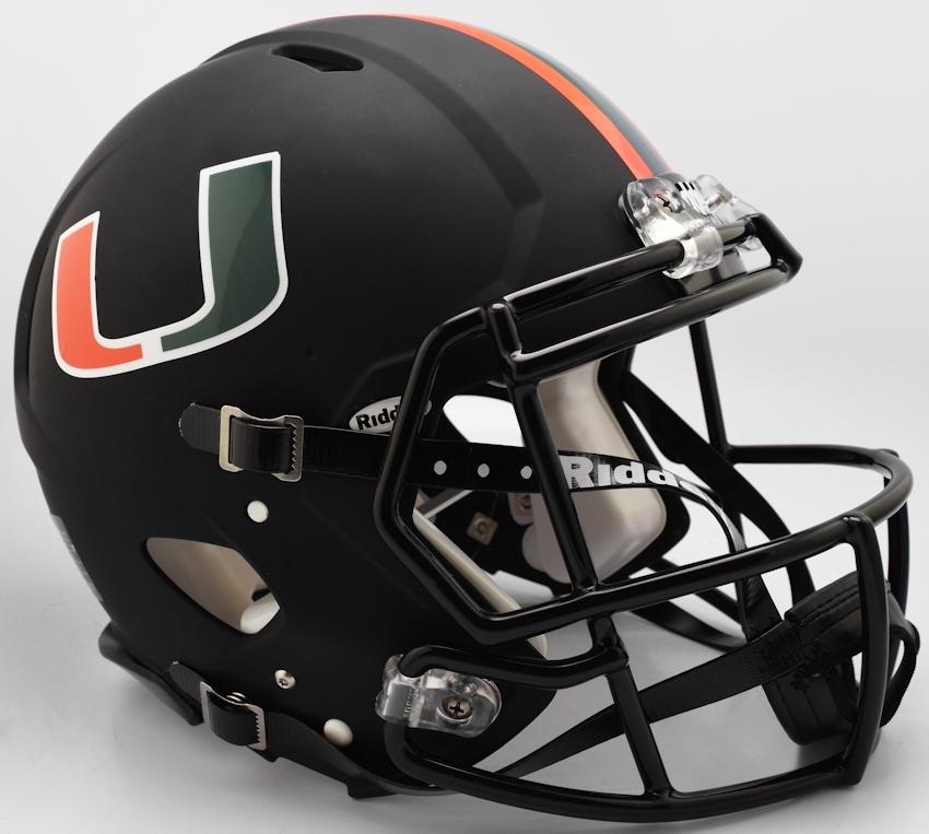 Miami Hurricanes Speed Football Helmet <B>2017 Nights Alt</B>