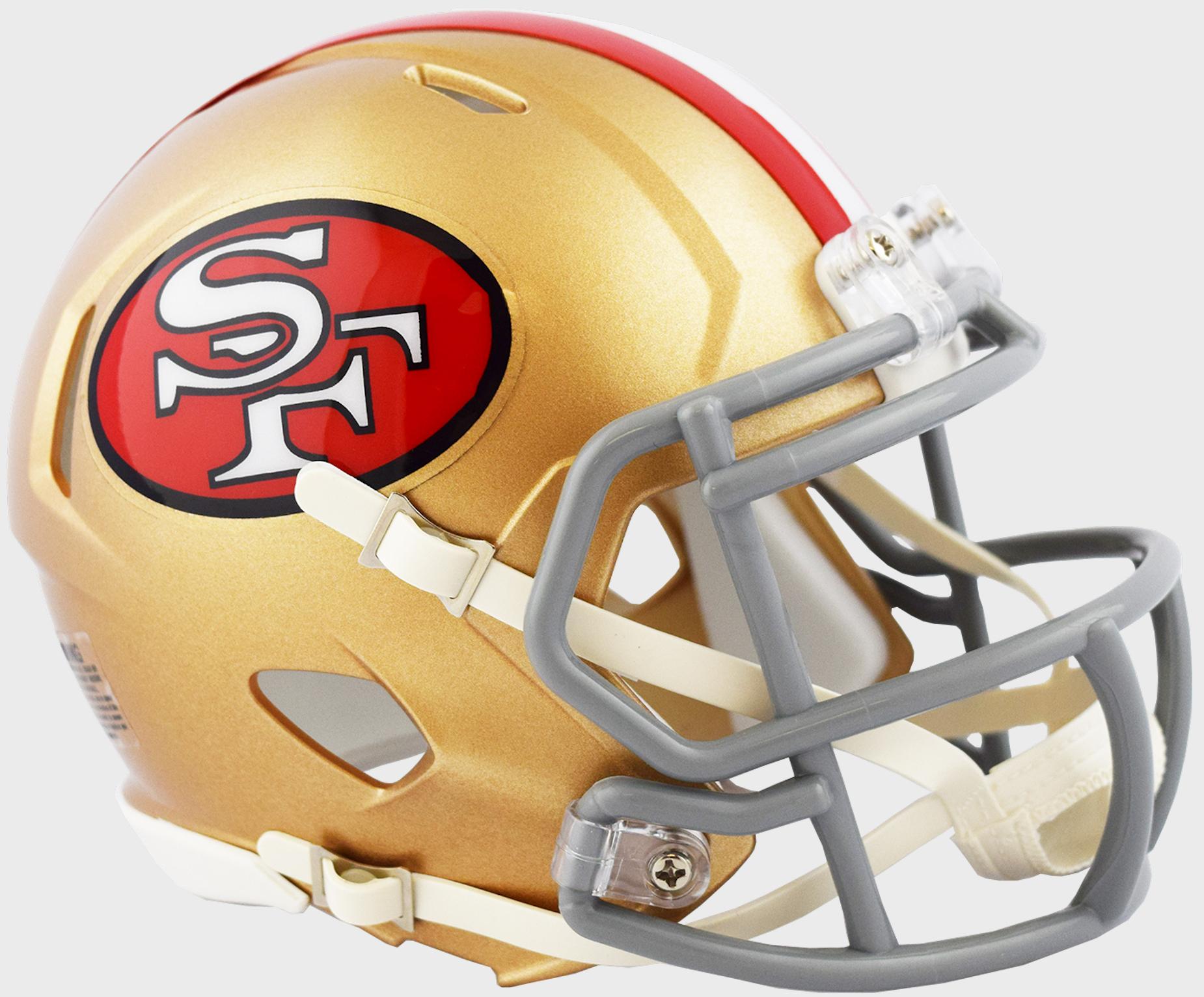 San Francisco 49ers NFL Mini Speed Football Helmet <B>2018 Tribute</B>