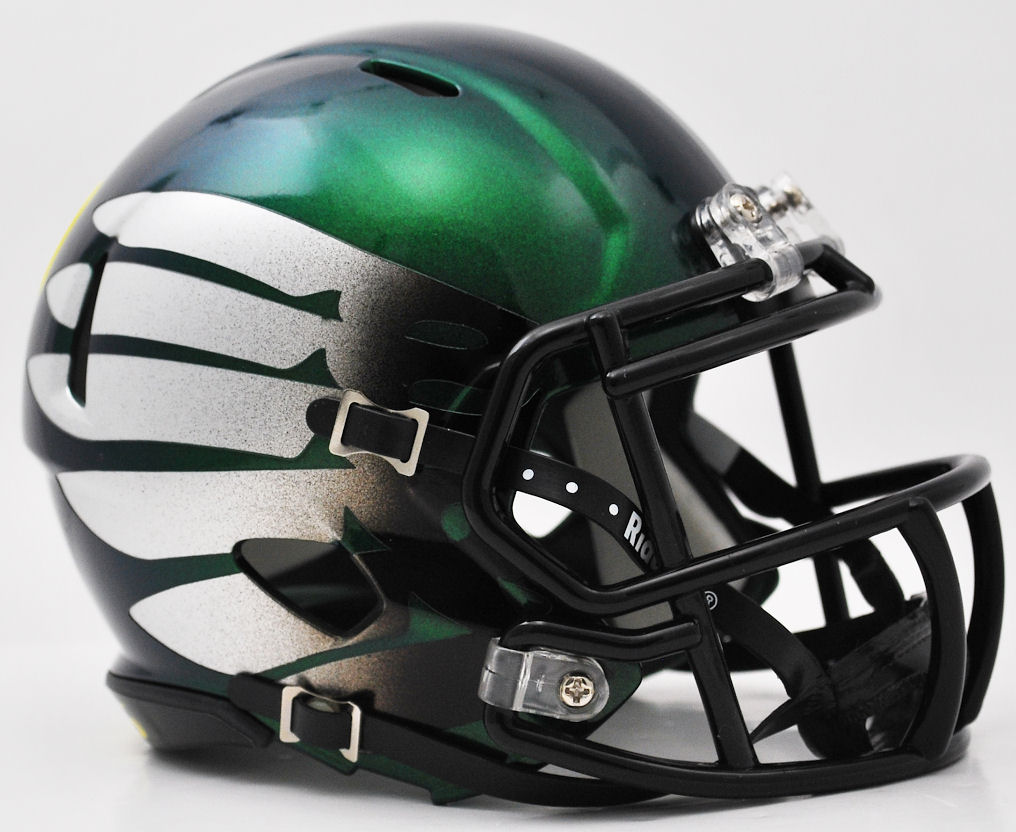 Oregon Ducks LiquidMetal Mini Football Helmet <B>Titanium Thunder Green</B>