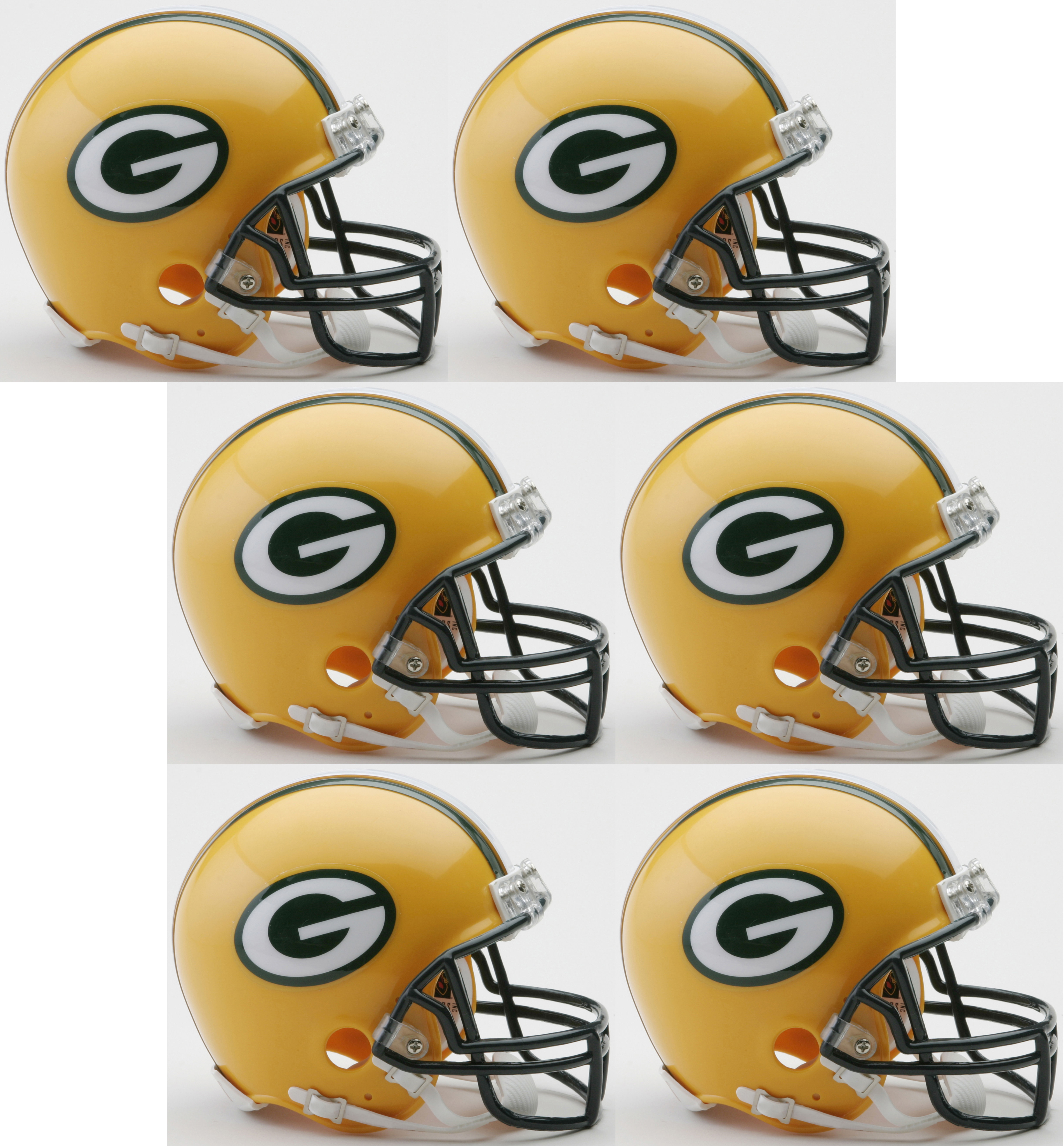 "Green Bay Packers NFL Mini Football Helmet 6 count  Green Bay Packers Mini Football Helmet 6 count.   Mini football helmet with great graphics.    Official NFL mini football helmet with official NFL team decals.    ABS plastic mini football helmet shells with plastic facemask.    Realistic interior foam padding, vinyl-leather chin strap.    This is an affordable NFL football helmet for the true fan.    Size 12 scale versions of NFL football helmets.    Size 6""(L), 4 ½""(W), 5""(H) - (NOT FOR WEARING)."