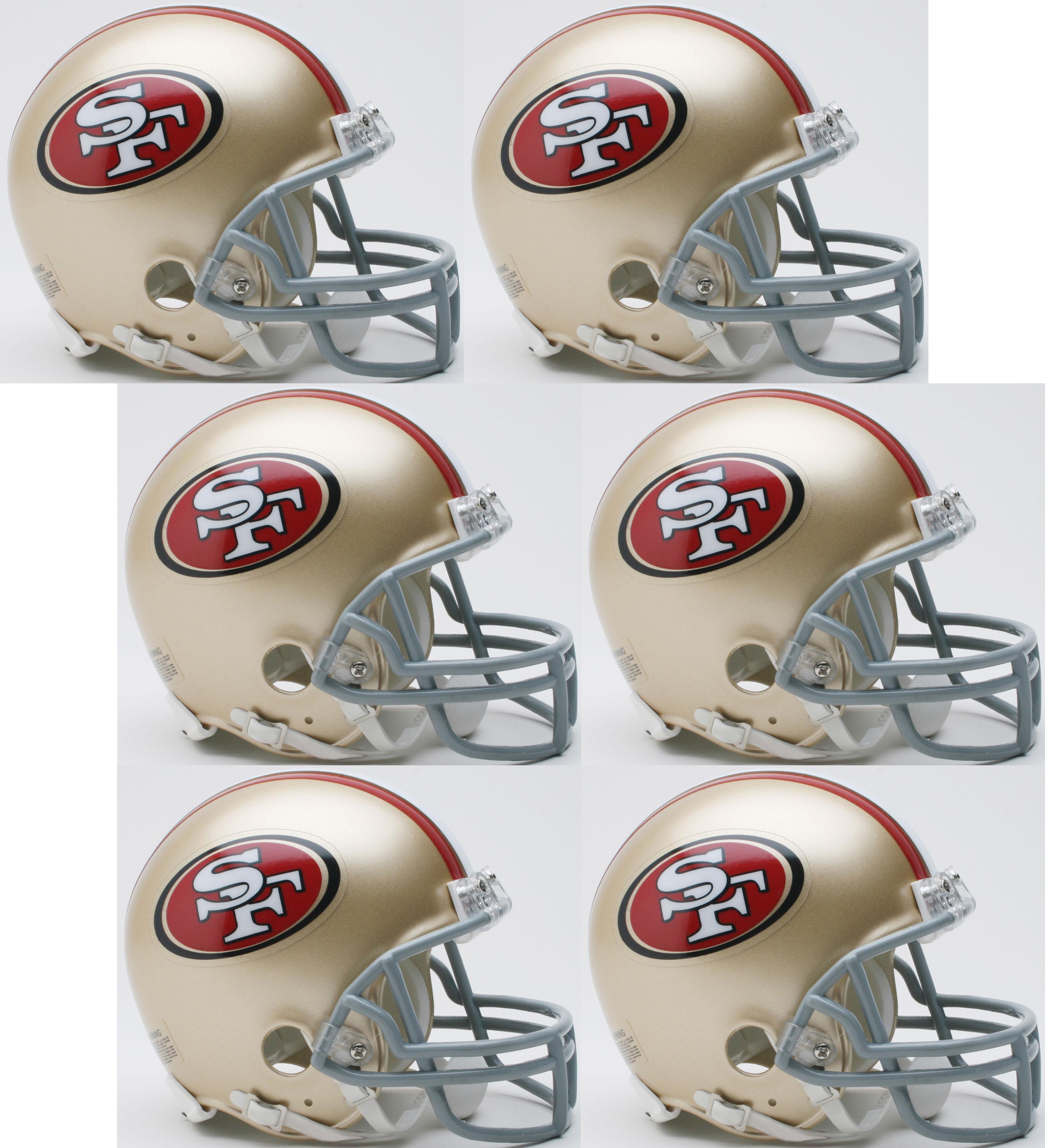 San Francisco 49ers NFL Mini Football Helmet 6 count