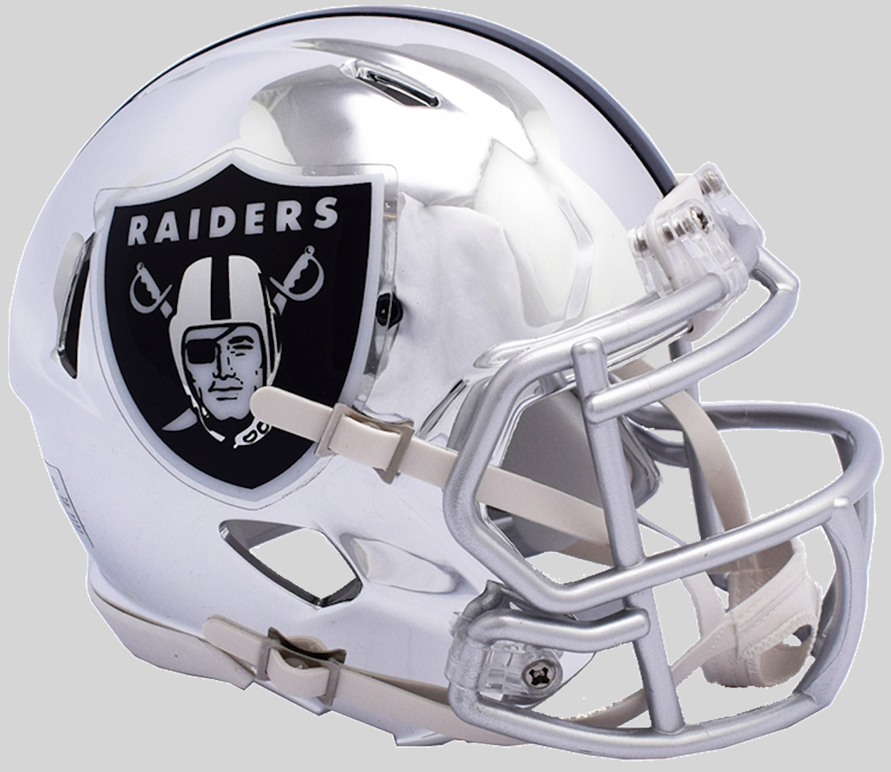 Oakland Raiders Speed Chrome Replica Helmet <B>NEW 2018</B>