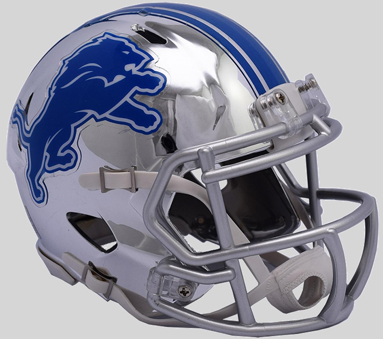 Detroit Lions NFL Mini Chrome Speed Football Helmet <B>NEW 2018</B>