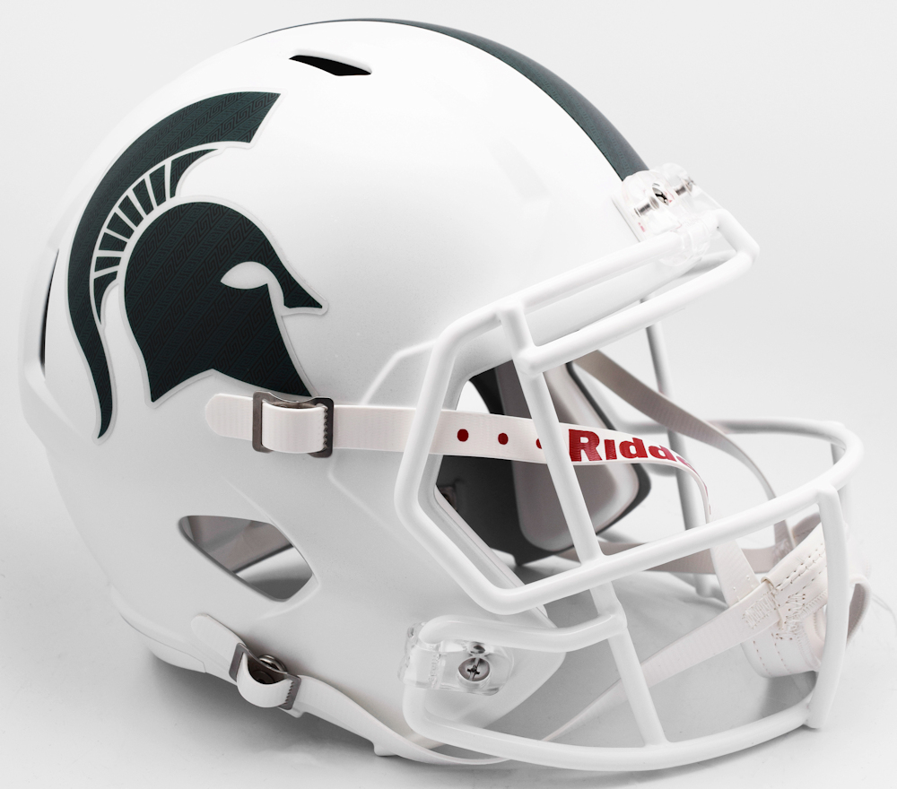 Michigan State Spartans Speed Replica Football Helmet <B>Matte White 2017 Alt</B>