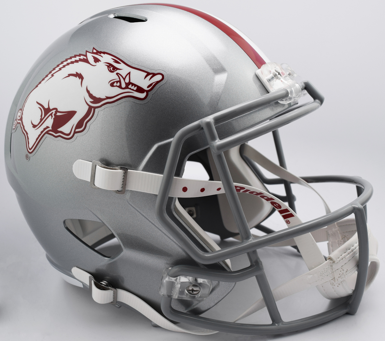 Arkansas Razorbacks Speed Replica Football Helmet <B>NEW 2017 Silver w/gray mask</B>