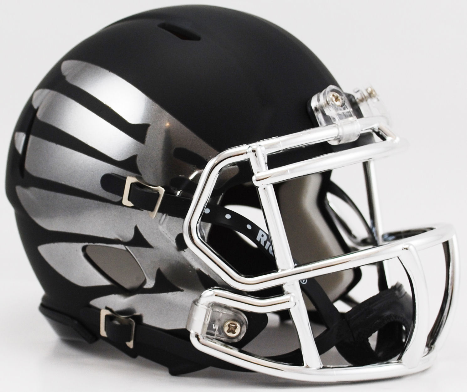 Oregon Ducks LiquidMetal Mini Football Helmet <B>Titanium Black Eclipse HydroSkin</B>