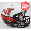 Helmets, Mini Helmets: Virginia Tech Hokies NCAA Mini Speed Football Helmet <B>White Effect</B>