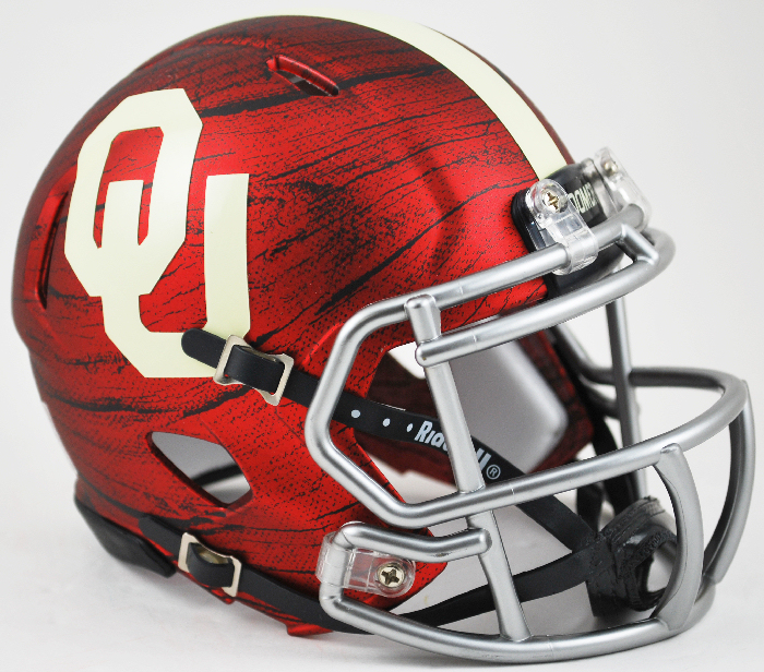 Oklahoma Sooners NCAA Mini Speed Football Helmet <B>Bring The Wood Hydro Red</B>
