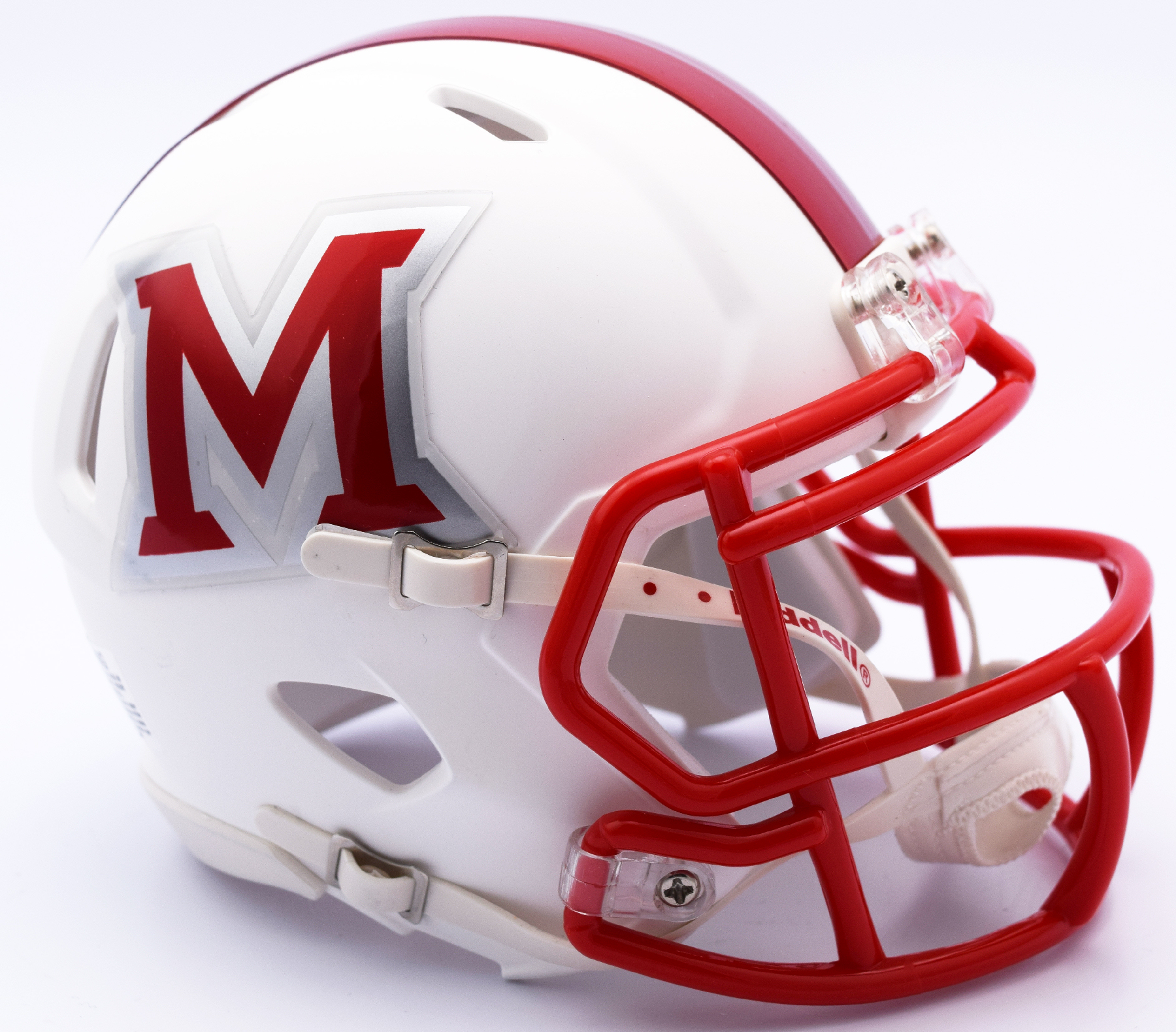 Miami of Ohio Redhawks NCAA Mini Speed Football Helmet <B>Matte White</B>