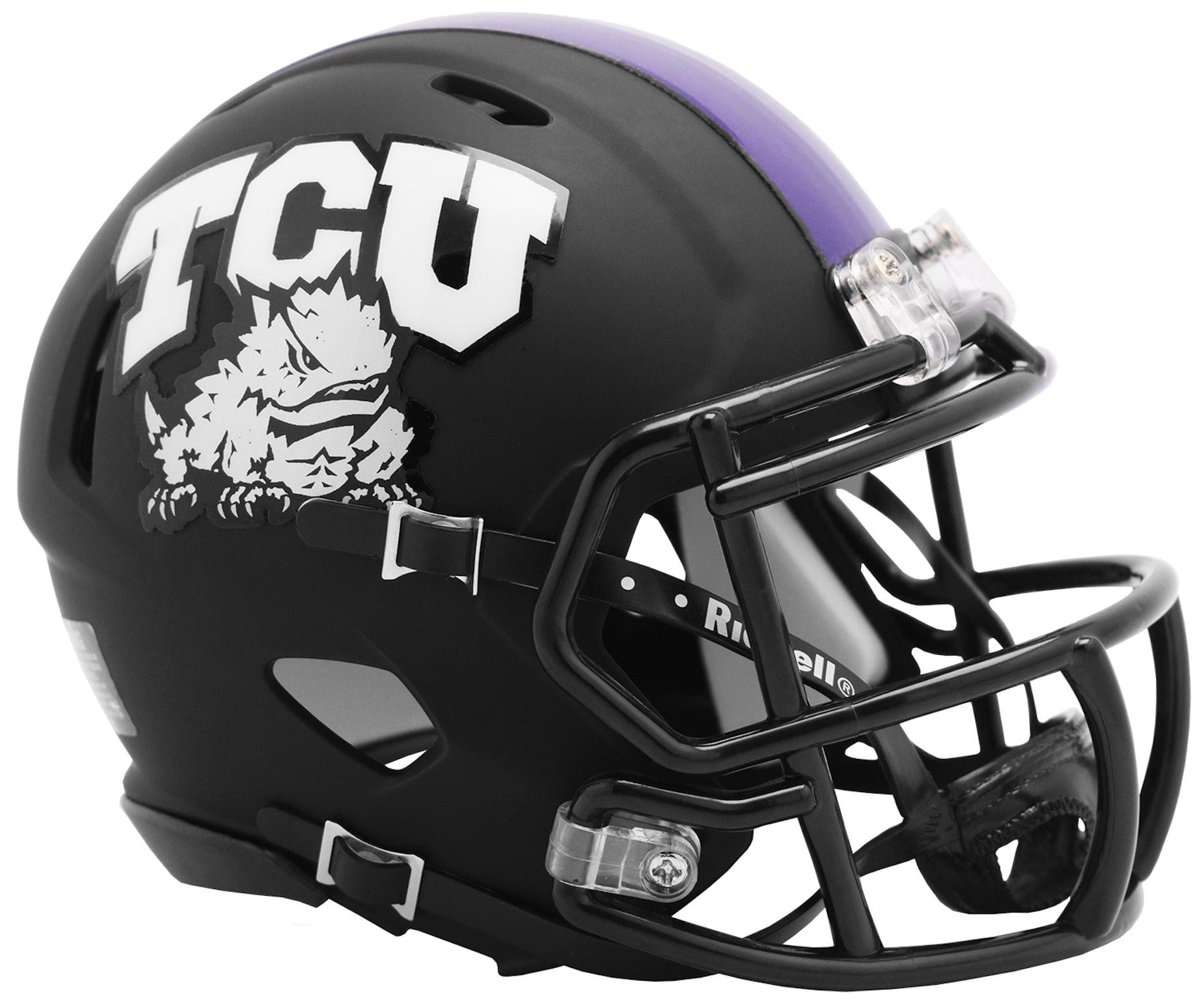 TCU Horned Frogs NCAA Mini Speed Football Helmet <B>2019 Matte Black</B>