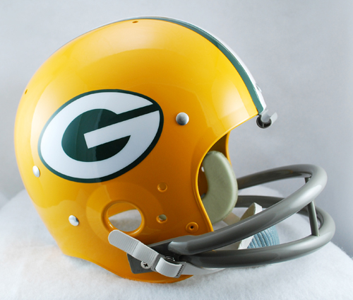 Green Bay Packers 1961 to 1979 TK Throwback Football Helmet Riddell is proud to offer full size TK suspension helmets with 2-bar facemasks as worn on-field during the ''60s, ''70s, and ''80s. The TK Suspension Helmet features a web suspension system in a rounded shell with the iconic Riddell 2-bar facemask worn by so many great players of the past. Riddell TK helmets strive to match the full detail of the originals.