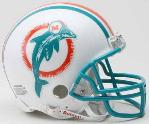 Miami Dolphins 1980 to 1996 Riddell Mini Replica Throwback Helmet
