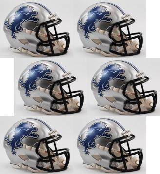 Detroit Lions NFL Mini Speed Football Helmet 6 count