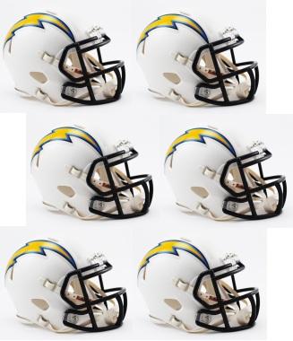 San Diego Chargers NFL Mini Speed Football Helmet 6 count