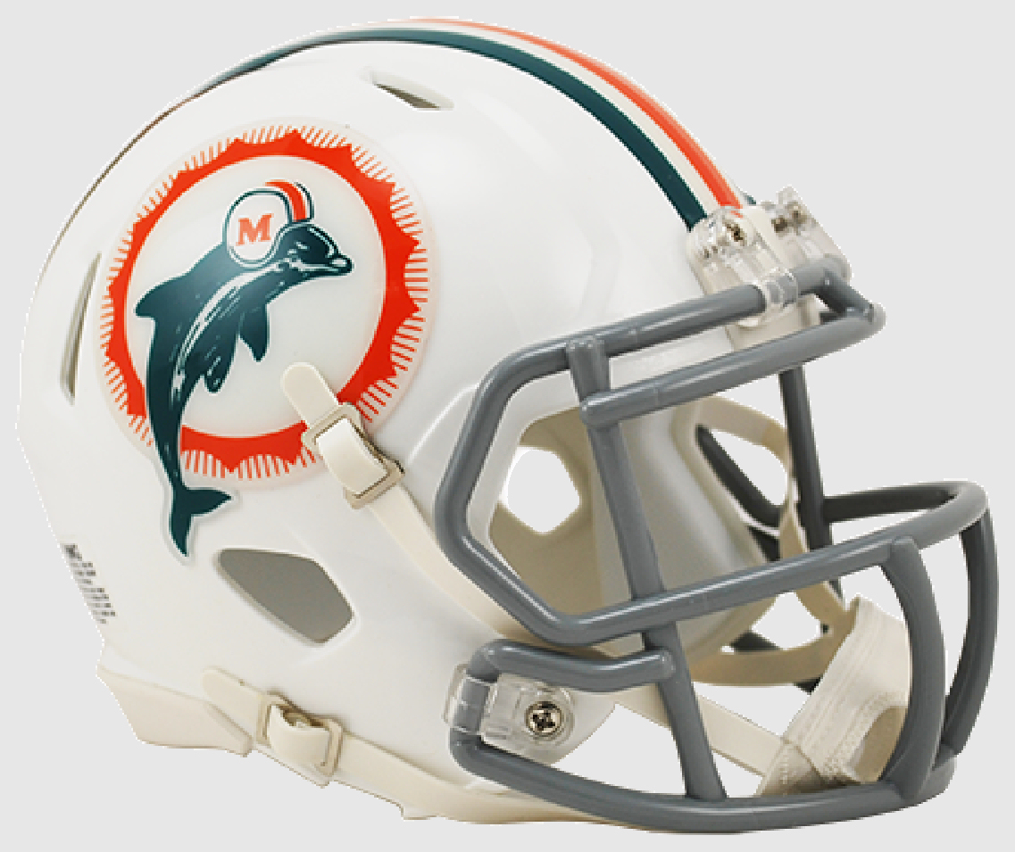 Miami Dolphins NFL Mini Speed Football Helmet <B>1966 Anniversary</B>