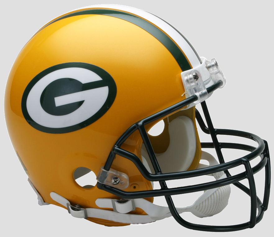 Green Bay Packers Football Helmet The ultimate football helmet collectible The on-field helmet worn by players for over 25 years and still going strong. Polycarbonate size large shell, steel, polyvinyl coated Z2B (running back  quarterback) facemask. 4-pt. chinstrap. Official team colors and decals. The autograph helmet of choice for over 15 years. Not to be used for play. Approx. 10 tall.